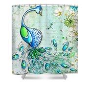 Original Peacock Painting Bird Art By Megan Duncanson Shower Curtain