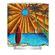 Original Tropical Surfing Whimsical Fun Painting Waiting For The Surf By Madart Shower Curtain