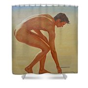 Original  Young Man Body Oil Painting  Gay Art - Male Nude By The Sea-055 Shower Curtain