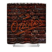 Orioles Baseball Graffiti On Brick  Shower Curtain