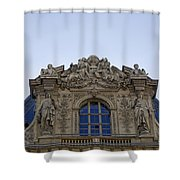 Ornate Architectural Artwork On The Musee Du Louvre Buildings In Paris France  Shower Curtain