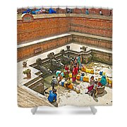 Ornate Fountains With Holy Water From The Bagmati River In Patan Durbar Square In Lalitpur-nepal   Shower Curtain