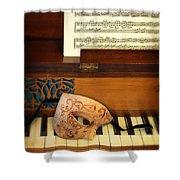 Ornate Mask On Piano Keys Shower Curtain