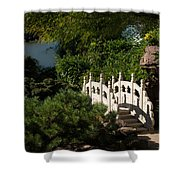 Ornate White Stone Bridge  Shower Curtain