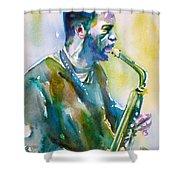 Ornette Coleman - Watercolor Portrait Shower Curtain