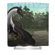 Ornithomimus Mother Dinosaur Shower Curtain by Vitor Silva