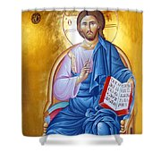Orthodox Icon Of Jesus In Blue Shower Curtain