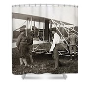 Orville Wright And Aeroplane  1908 Shower Curtain