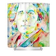 Oscar Wilde Watercolor Portrait.1 Shower Curtain