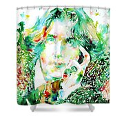 Oscar Wilde Watercolor Portrait.2 Shower Curtain by Fabrizio Cassetta