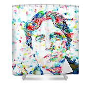 Oscar Wilde With Cigar - Watercolor Portrait Shower Curtain by Fabrizio Cassetta