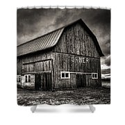 Oslo Corner In Black And White Shower Curtain by Thomas Young