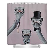 Ostrich Family Shower Curtain