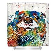 Otter Art - Ottertude - By Sharon Cummings Shower Curtain