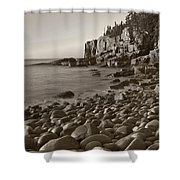 Otter Cliffs Black And White Shower Curtain