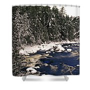 Ouareau River And Snow Covered Shower Curtain