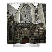 Oude Kerk Door With Bikes Amsterdam Shower Curtain