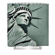 Our Lady Liberty - Verdigris Tone Shower Curtain