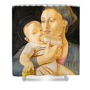 Our Lady Nursing The Child Shower Curtain