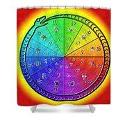 Ouroboros Alchemical Zodiac Shower Curtain by Derek Gedney