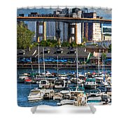 Out At The Harbor V3 Shower Curtain