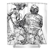 Out For A Coffee 2 Shower Curtain