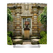 Outdoor Benches At Sewickely Pennsylvania Library Shower Curtain