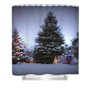 Outdoor Christmas Tree Shower Curtain