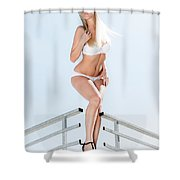 Outdoor Lingerie Portrait Shower Curtain