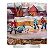 Outdoor Rink Hockey Game In The Village Hockey Art Canadian Landscape Scenes Carole Spandau Shower Curtain