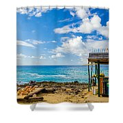 Outdoor Tropical Bar And Souvenirs Shower Curtain