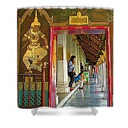 Outer Hall In Thai-khmer Pagoda At Grand Palace Of Thailand Shower Curtain
