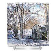 Outhouse In Winter Shower Curtain