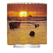 Outigger Canoe Silhouette Shower Curtain