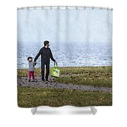 Outing In Autumn Shower Curtain