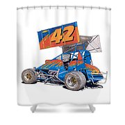 Dirt Track Racing Outlaw 42 Shower Curtain