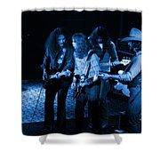 Outlaws #26 Crop 2 Blue Shower Curtain
