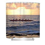 Outrigger Canoe At Sunset In Kailua Kona Shower Curtain