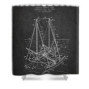 Outrigger Sailboat Patent From 1977 - Dark Shower Curtain