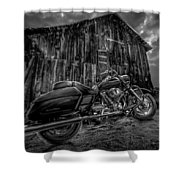 Outside The Barn Bw Shower Curtain