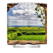 Outside The Fortress Wall Shower Curtain