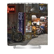 Outside The Motorcycle Shop Shower Curtain