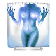 Outsider Series - Trapped Behind The Glass - In Blue Shower Curtain