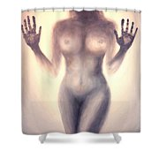 Outsider Series - Trapped Behind The Glass - In Sepia Shower Curtain
