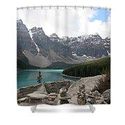 Moraine Lake Lookout - Lake Louise, Alberta Shower Curtain