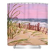 Over The Dunes To The Garden City Pier  Shower Curtain