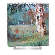 Over The Fence By Jan Matson Shower Curtain