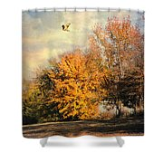 Over The Golden Tree Shower Curtain