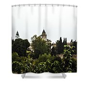 Overlooking The Alhambra On A Rainy Day - Granada - Spain Shower Curtain