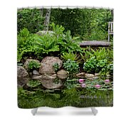 Overlooking The Lily Pond Shower Curtain